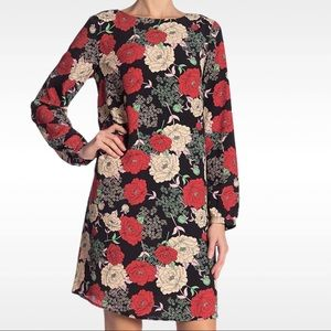 NWT Floral Shift Dress Long Sleeve Red Small New